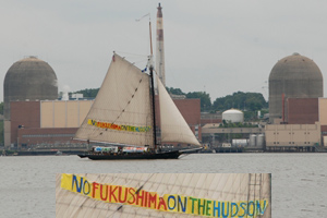 No Fukishima On the Hudson banner in front of Indian Point Nuclear Power Plant