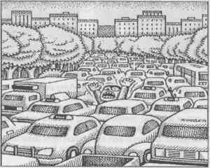 Auto-Free Parks! Illustration by Andy Singer.