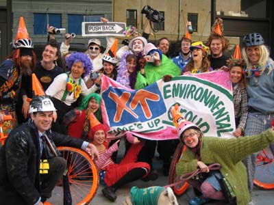 Bike Clown celebrate cleared bike lanes on Mar 2008 ride - photo courtesy of Team Spider