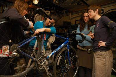 Tuesday Ladies Bicycle Repair Night  - photo by Ida Benedetto