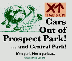 Cars out of the parks! It's a park. Not a parkway. Art by Ken Avidor.