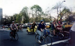 Earth Day: trees, bikes, trikes, and pedicabs.